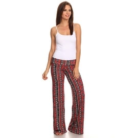 Women's Paisley Red Printed Palazzo Pants Made in USA