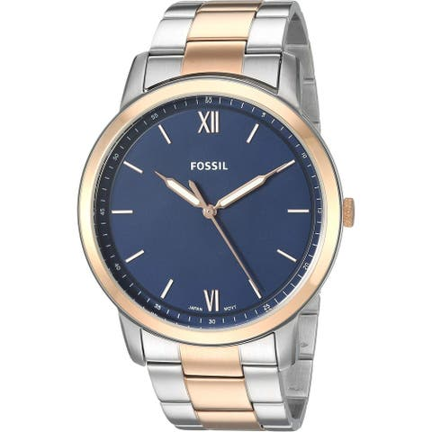 Fossil Men's FS5498 'The Minimalist' Rose Gold/Silver-Tone Stainless Steel Watch