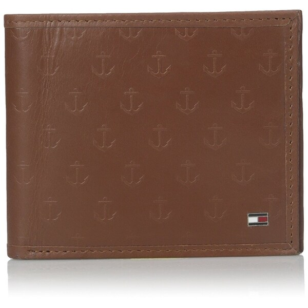 Tommy Hilfiger NEW Saddle Brown Mens Sawyer Double Bifold Leather Wallet