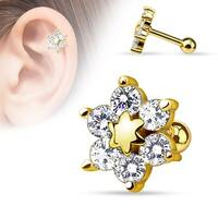 {Gold/Clear} 6 CZ Flower gold-plated Over 316L Surgical Steel Cartilage/Tragus Barbell (Sold I