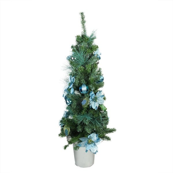 "48"" Pre-Decorated Peacock Blue and Silver Potted Artificial Christmas Tree - Unlit"