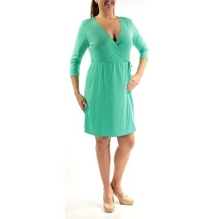 Womens Green 3/4 Sleeve Above The Knee Faux Wrap Party Dress Size: L