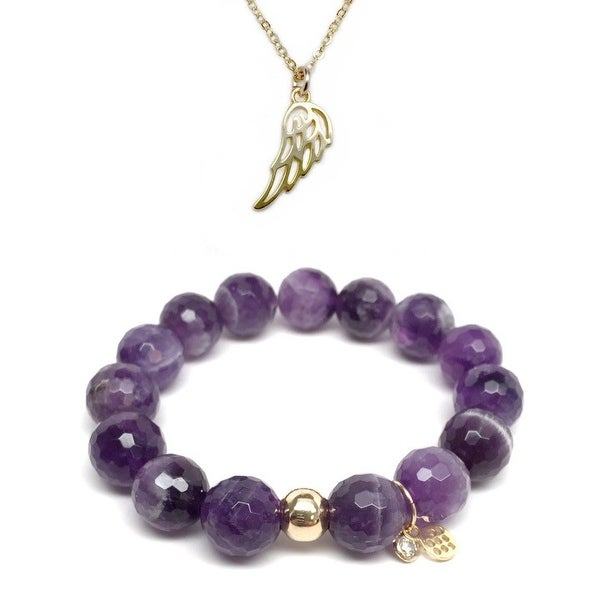 Purple Amethyst Bracelet & Angel Wing Gold Charm Necklace Set