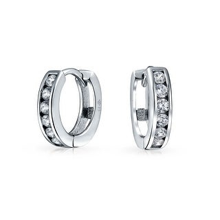 Bling Jewelry Tiny CZ Sterling Silver Leverback Hoop Earrings