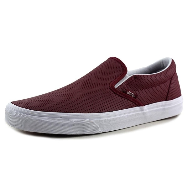 Shop Vans Classic Slip-On Youth Round Toe Leather Burgundy