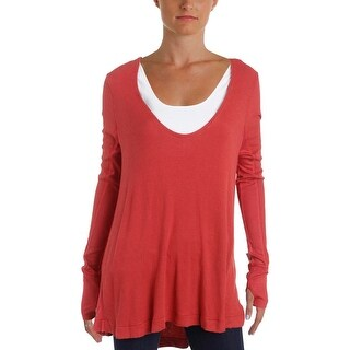 We The Free Womens Pullover Top Hi-Low Waffle Knit