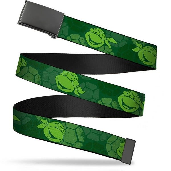 Blank Black Buckle Classic Tmnt Turtle Faces2 Greens Webbing Web Belt