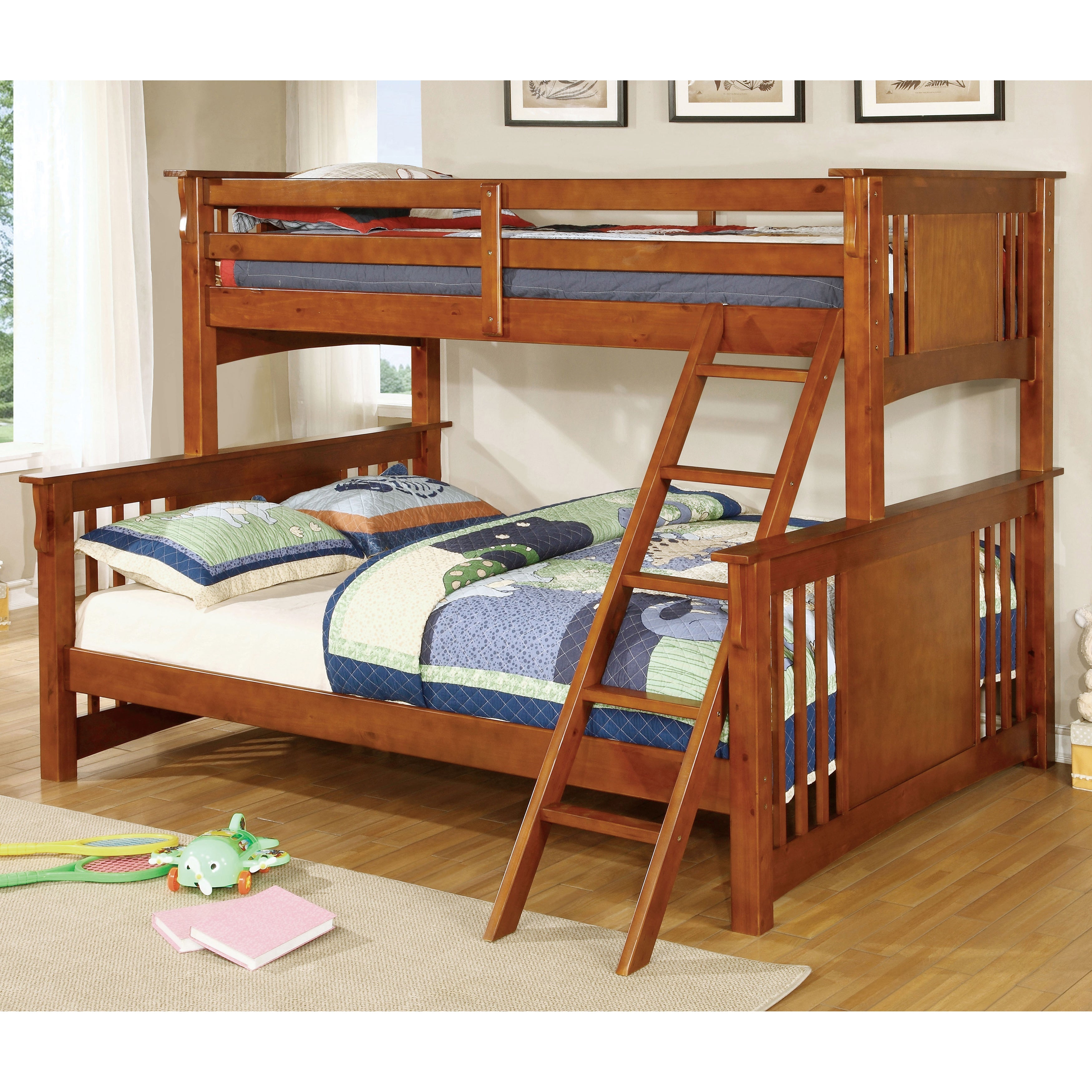 Furniture Of America Cude Mission Twin Xl Over Queen Kid Bunk Bed Overstock 10001083