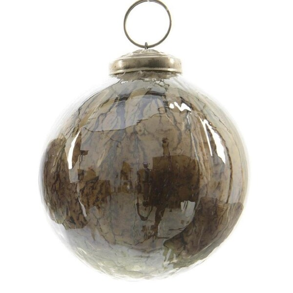 "Luxury Lodge Earth Tone Shiny Ridge Detailed Glass Christmas Ball Ornament 4"" (100mm) - brown"