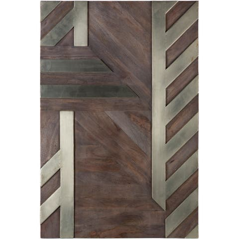 Ayush Antiqued Silver Metal Inlay Stripes 36x24-inch Wood Wall Art