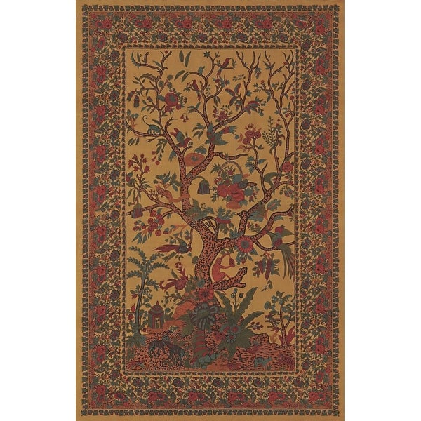 Tree of Life Tapestry Handmade Cotton Tablecloth Bedspread Coverlet Twin 70 x 104 inches Gold Twin Queen King