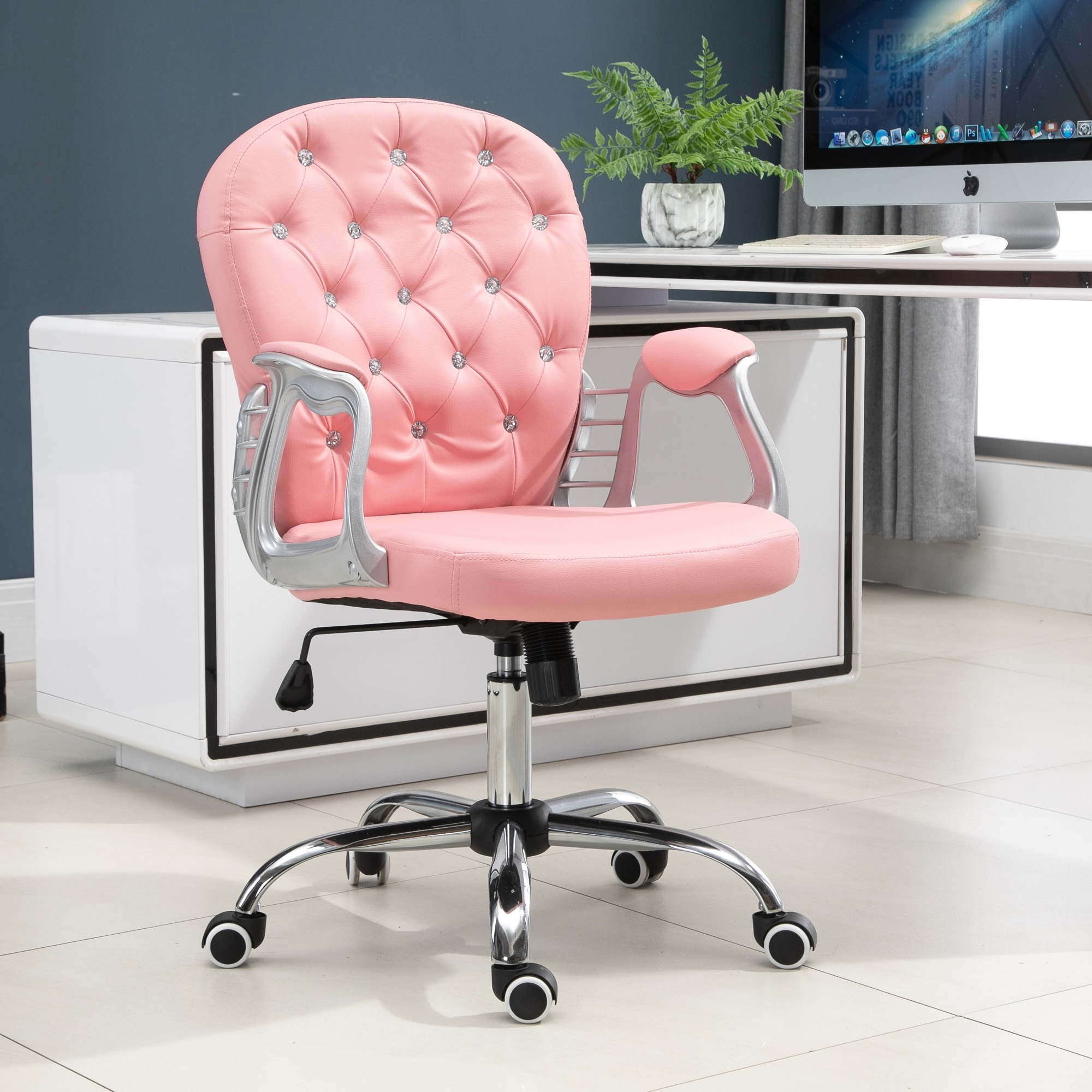Vinsetto Vanity Middle Back Office Chair Tufted Backrest Swivel Rolling Wheels Task Chair With Height Adjustable Armrests Overstock 31629390