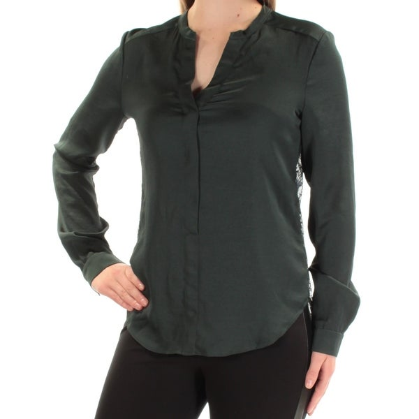 ANNE KLEIN Womens Green Cuffed V Neck Top Size: 6