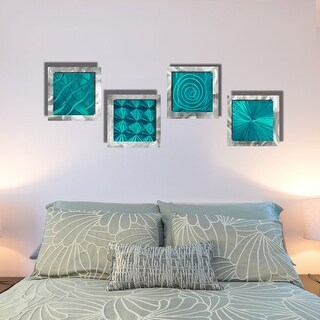 Statements2000 Teal Blue/Silver Metal Wall Art Accent Sculpture by Jon Allen (Set of 4) - 4 Squares Teal