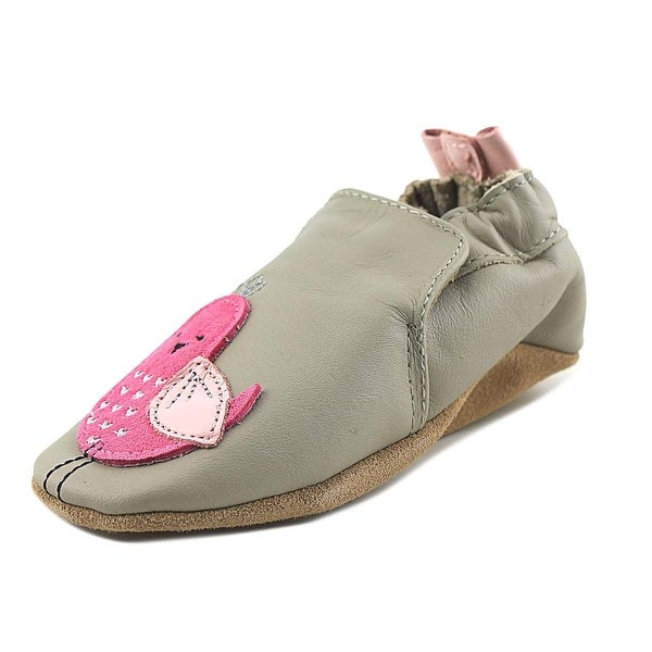 Robeez Peaceful Partridge Infant Round Toe Leather Gray Loafer