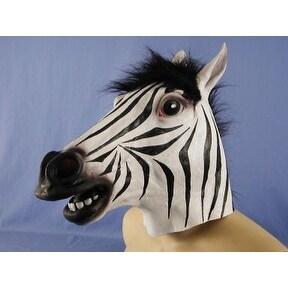 Zebra Animal Full Face Adult Costume Mask - White