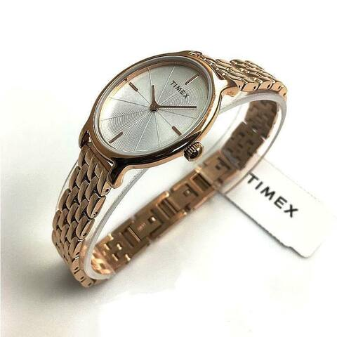 Timex Women's TW2R94000 'Milano' Rose Gold-Tone Stainless Steel Watch - Silver