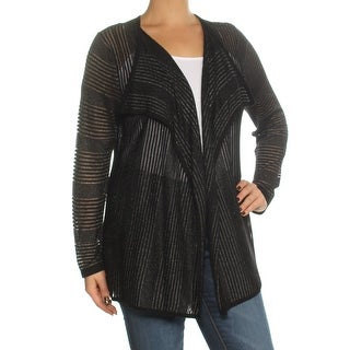 Womens Black Sheer Long Sleeve Open Cardigan Top Size L