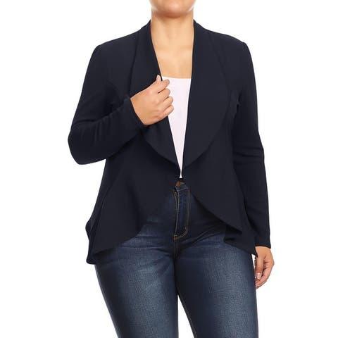 Women's Plus Size Casual Solid Blazer Jacket