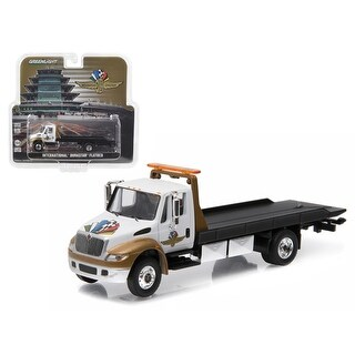 2016 International Durastar 4400 IMS Wheel, Wings, and Flag Flatbed Tow Truck White and Gold 1/64 Diecast Model by Greenlight