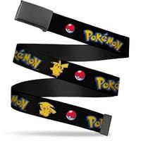 Blank Black  Buckle Pokemon Pikachu Poses & Poke Ball Black Webbing Web Belt
