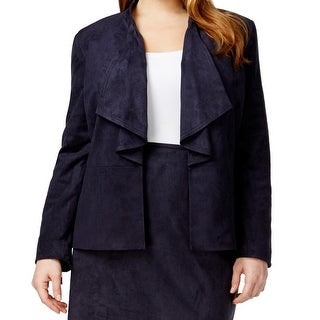 Tahari By ASL NEW Blue Women's Size 18W Plus Faux Suede Ruffled Jacket