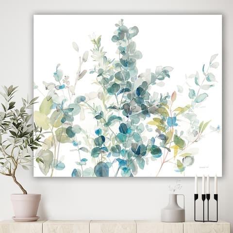 Designart 'Eucalyptus Natural Element' Farmhouse Canvas Wall Art - Blue