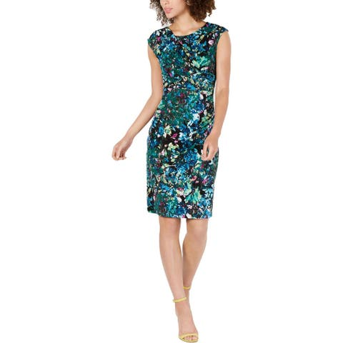 Connected Apparel Womens Sheath Dress Printed Knee-Length - Hunter Green