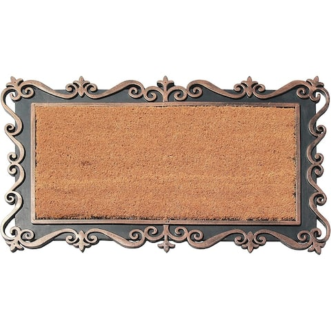 "A1HC Rubber and Coir Copper Finished, Geometric Pattern Tray Doormat 18""X30"""