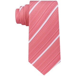 Kenneth Cole Reaction Orange Linear Striped Men's Neck Tie Silk