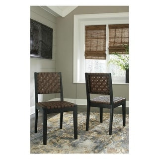 Ashley Furniture D548-02 Satin Black Finish Dining Room Side Chair (2 Pack)