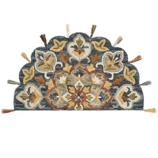 """Link to Alexander Home Hand-Hooked Sophie 100% Wool Medallion Tassel Hearth Rug - 2'3"""" x 3'9"""" Hearth Similar Items in Transitional Rugs"""