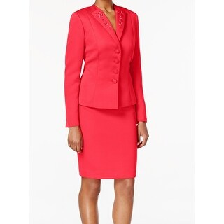 Tahari By ASL NEW Pink Women's Size 16 Embroidered Skirt Suit Set `