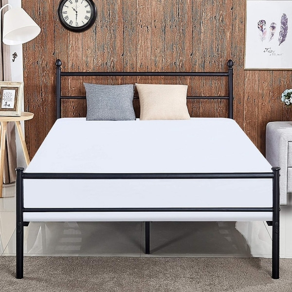 Shop VECELO Full Size Metal Bed Frames with Simple Headboard and ...