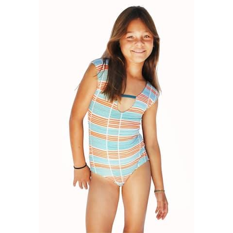 Azul Girls Orange Running Lines Strappy Back One Piece Swimsuit