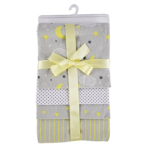 """Set of 4 Yellow and Gray Receiving Baby Blankets, 14"""""""