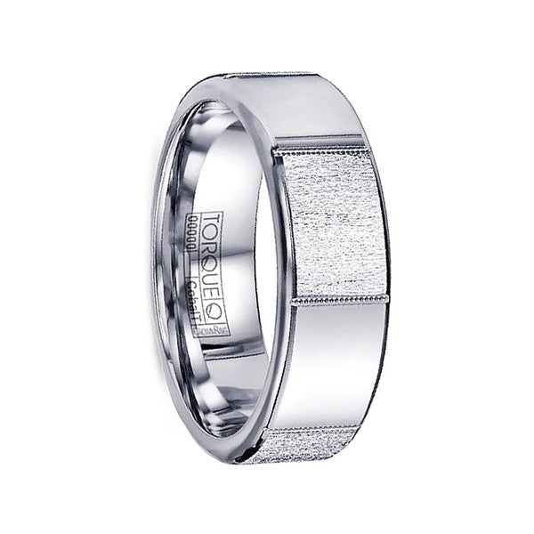 BLANKA Textured-Polished Cobalt Wedding Ring with Milgrain Accents by Crown Ring - 7mm