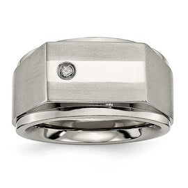 Chisel Titanium with (0.05ct) Diamond Ring (9 mm)