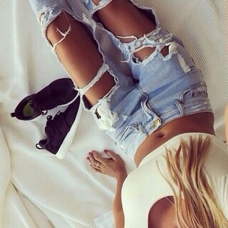 Ladies Sexy Casual Faded Ultra Ripped Destroyed Boyfriend Jeans Denim Pants