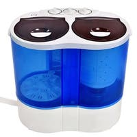 Costway Portable Mini Washing Machine Compact Twin Tub 15lb Washer Spin spinner Furni - white and blue