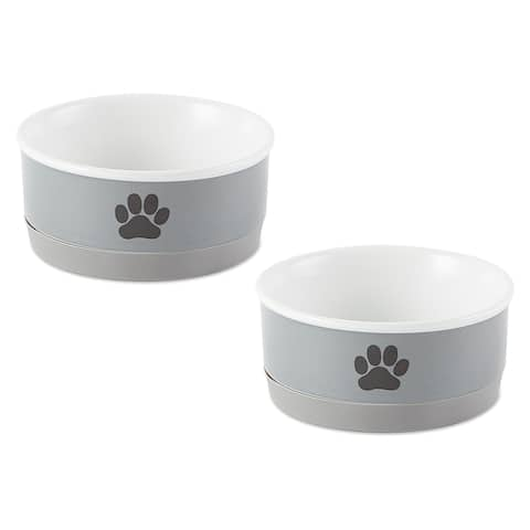DII Pet Bowl Black Paw Print Gray Small 4.25dx2h (Set of 2)