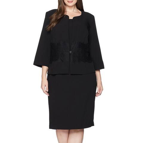 Danny & Nicole Womens Jacket Dress Suit Classic Black Size 20W Plus