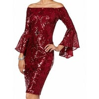 Betsy & Adam Red Womens Size 8 Off Shoulder Sequined Sheath Dress