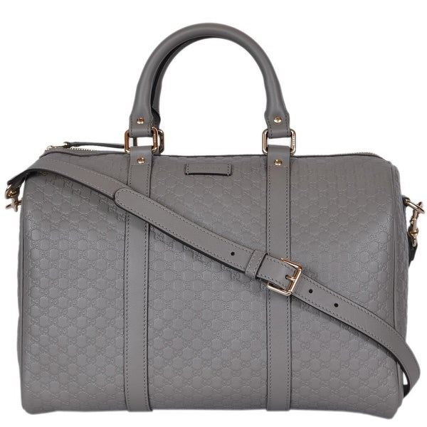 ac744c2b3a4 Gucci Grey Leather 449646 Micro GG Guccissima Boston Bag Satchel W Strap -  13
