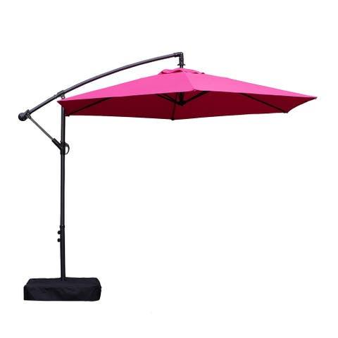 Hanging Patio Umbrella with Adjustable Mechanism, Pink