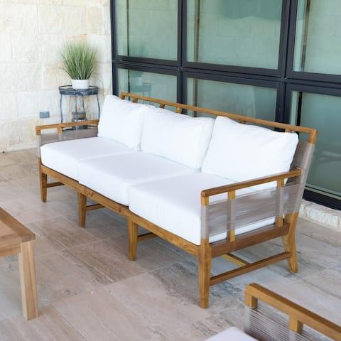 "Nizuc Teak 86"" Outdoor Sofa with Cushions"