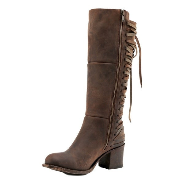 Miss Macie Fashion Boots Womens Lacing Zipper Gypsy Rider Brown