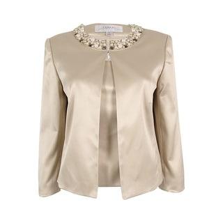 Tahari Women's 'Jeffrey' Beaded Satin Top And Blazer Set (6, Champagne Gold)