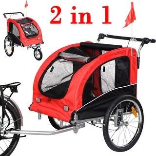 Costway Pet Dog Bike Trailer Bicycle Trailer Stroller Jogging w/ Suspension Red
