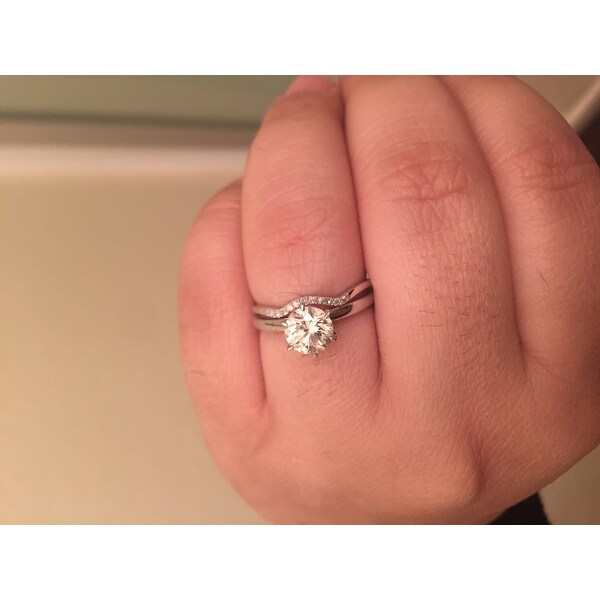 Miadora 10k White Gold Diamond Accent Curved Wedding Band Free